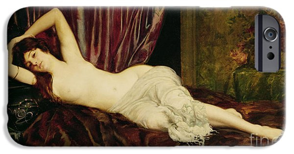 Odalisque iPhone Cases - Reclining Nude iPhone Case by Henri Fantin Latour