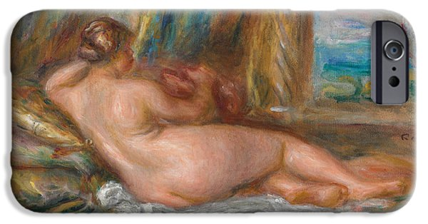 Renoir iPhone Cases - Reclining Nude or Reclining Odalisque iPhone Case by Pierre Auguste Renoir