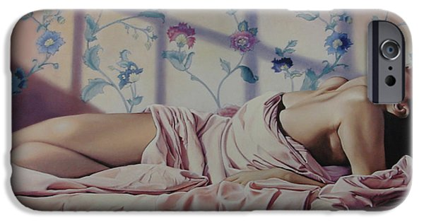 Sheets iPhone Cases - Reclining Nude iPhone Case by Patrick Anthony Pierson