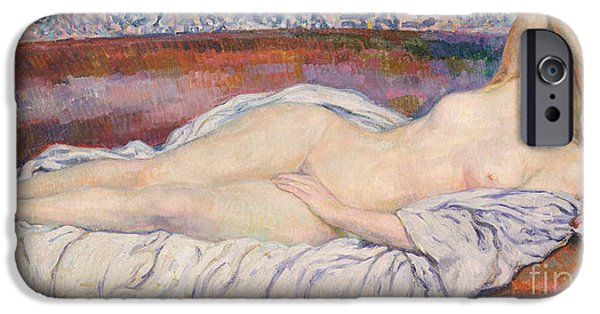 Daydream iPhone Cases - Reclining Nude  iPhone Case by Theo van Rysselberghe