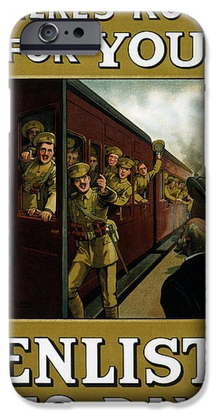 Wwi Drawings iPhone Cases - Recruitment Poster  iPhone Case by English School