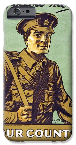 World War One Drawings iPhone Cases - Recruitment Poster Follow Me Your Country Needs You iPhone Case by English School
