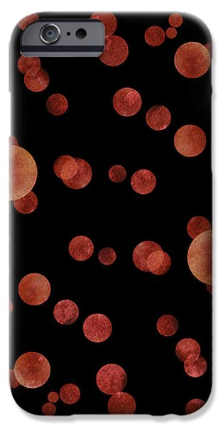 Mood Paintings iPhone Cases - Red Abstract Dots iPhone Case by Frank Tschakert