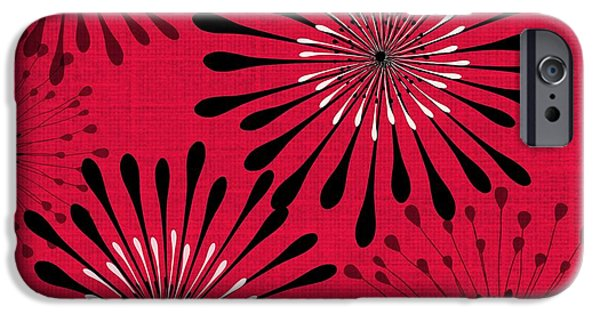 Abstract Digital Tapestries - Textiles iPhone Cases - Red and Black Abstract Floral iPhone Case by Sharon Johnston