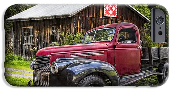 1949 Plymouth iPhone Cases - Red and Black iPhone Case by Debra and Dave Vanderlaan