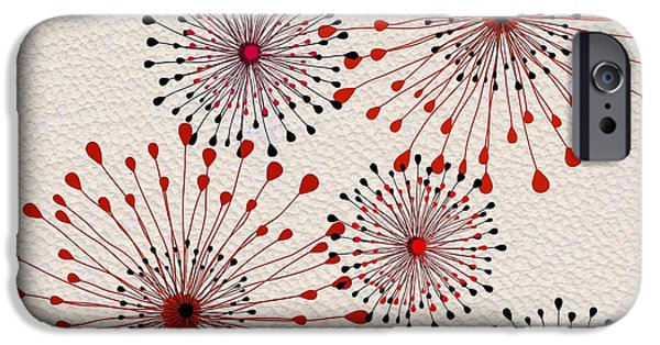 Red Abstract Tapestries - Textiles iPhone Cases - Red and Black Floral Burst iPhone Case by Sharon Johnston