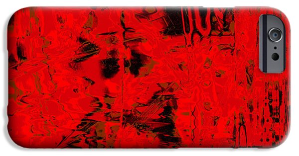 Red Abstract Tapestries - Textiles iPhone Cases - Red And Black iPhone Case by Laura Boyd