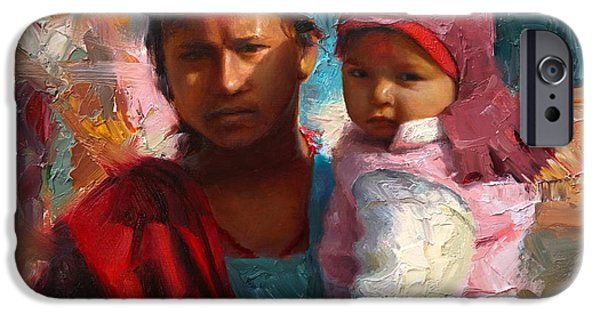 Little iPhone Cases - Red and Blue Portrait of Nepalese Mother and Child iPhone Case by Karen Whitworth