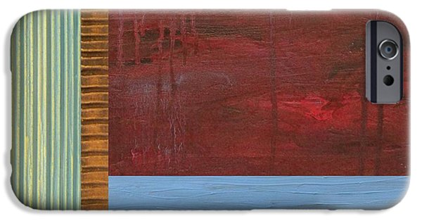 Lake iPhone Cases - Red and Blue Study iPhone Case by Michelle Calkins