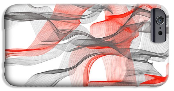 Red Abstract iPhone Cases - Red And Gray Ribbons -Red and Gray Art iPhone Case by Lourry Legarde