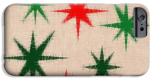 Abstract Digital Photographs iPhone Cases - Red and Green Stars iPhone Case by Bri Lou