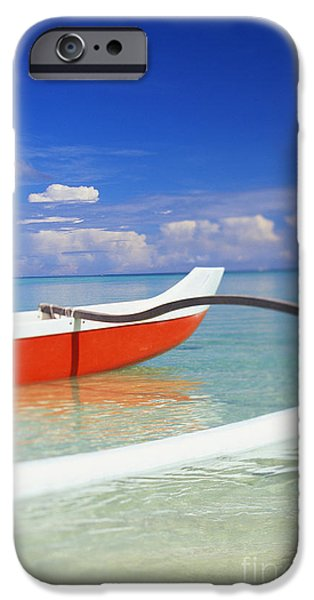 Red And White Canoe iPhone Case by Dana Edmunds - Printscapes