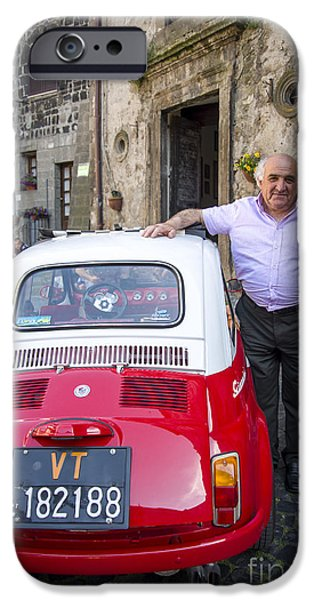 Old Cars iPhone Cases - Red and White Cinquecento in Town Square iPhone Case by Ning Mosberger-Tang