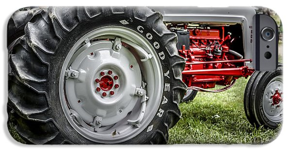 John Deere Tractor iPhone Cases - Red and White Ford Model 600 Tractor iPhone Case by Edward Fielding