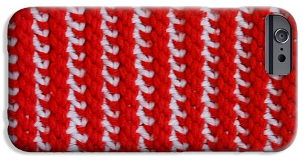 Abstracts Tapestries - Textiles iPhone Cases - Red and White Knit iPhone Case by AnnaJo Vahle