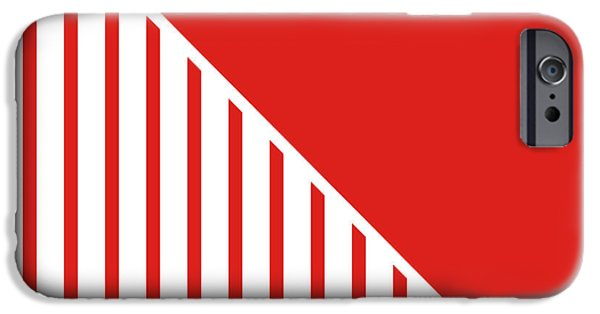Stripes Digital Art iPhone Cases - Red and White Triangles iPhone Case by Linda Woods