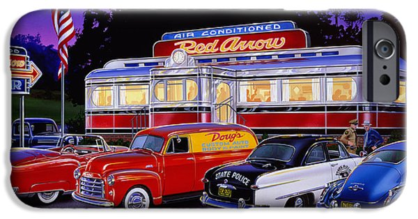 Panels iPhone Cases - Red Arrow Diner iPhone Case by Bruce Kaiser