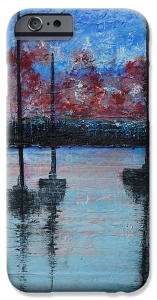 Abstract Seascape iPhone Cases - Red At Night iPhone Case by Alys Caviness-Gober