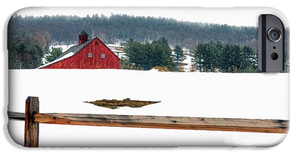 Snowy Day iPhone Cases - Red Barn and Fence iPhone Case by Geoffrey Coelho