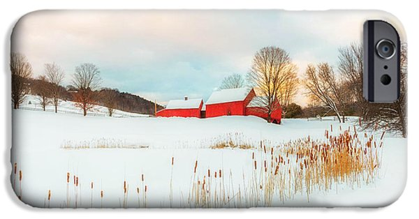 Old Barns iPhone Cases - Red Barn Farm Winter  iPhone Case by John Vose