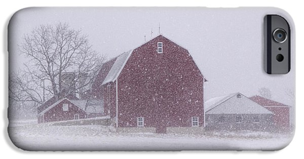 Red Barn In Winter iPhone Cases - Red Barn in a Snowstorm iPhone Case by Randall Nyhof