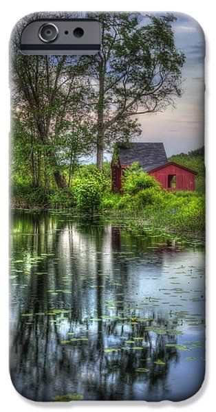 Lilly Pads iPhone Cases - Red Barn in Country Setting iPhone Case by Joann Vitali