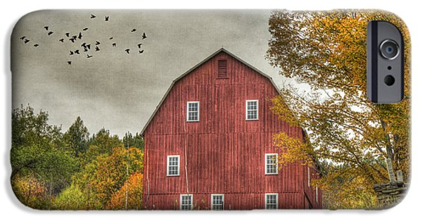 Fall iPhone Cases - Red Barn in Fall - Woodstock Vermont iPhone Case by Joann Vitali