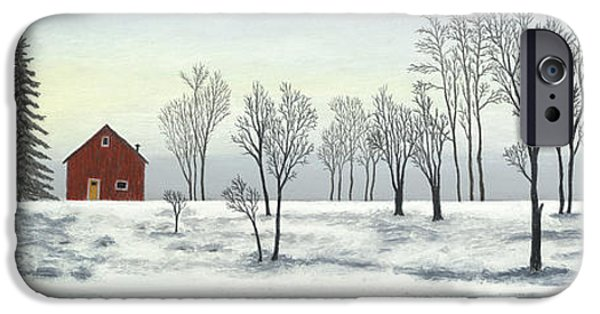 Red Barn In Winter iPhone Cases - Red Barn In Winter iPhone Case by George Burr