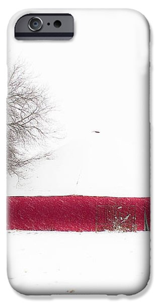 Red Barn in Winter iPhone Case by Tamyra Ayles