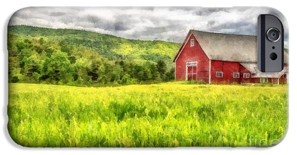 Agricultural iPhone Cases - Red Barn Landscape Watercolor iPhone Case by Edward Fielding