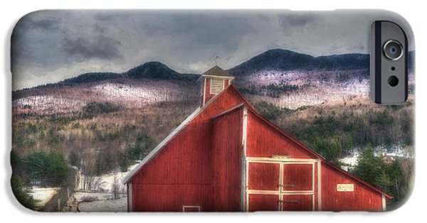 Red Barn In Winter Photographs iPhone Cases - Red Barn on Old Farm - Stowe Vermont iPhone Case by Joann Vitali