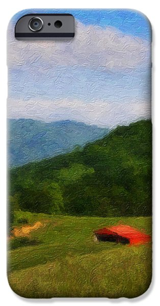 Field. Cloud Digital Art iPhone Cases - Red Barn on the Mountain iPhone Case by Teresa Mucha