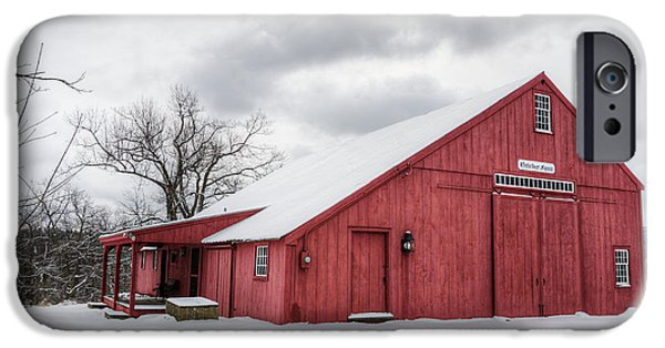 Snow iPhone Cases - Red Barn on Wintry Day iPhone Case by Donna Doherty