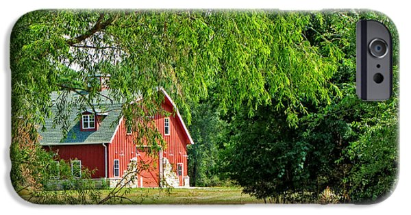 Barns Tapestries - Textiles iPhone Cases - Red Barn Serenity iPhone Case by Paula Anderson