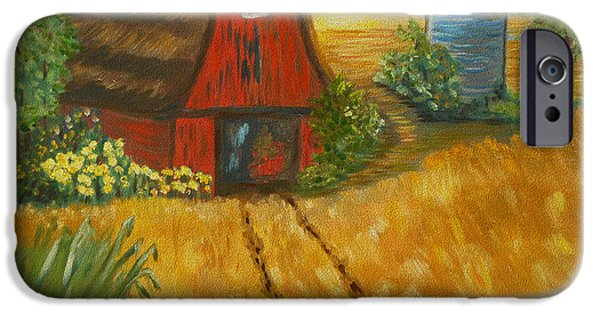 Old Barn iPhone Cases - Red Barn- Wheat Field- Down Home iPhone Case by Kathy  Symonds
