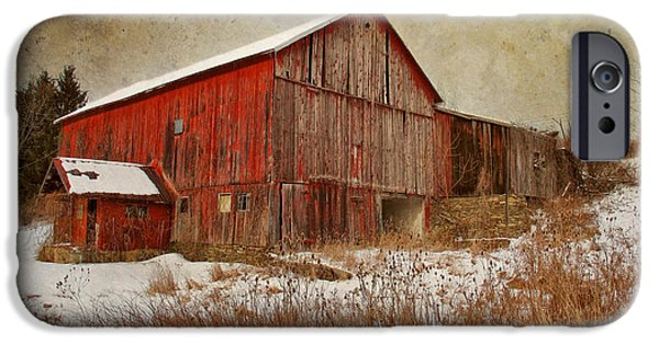 Barns iPhone Cases - Red Barn White Snow iPhone Case by Larry Marshall