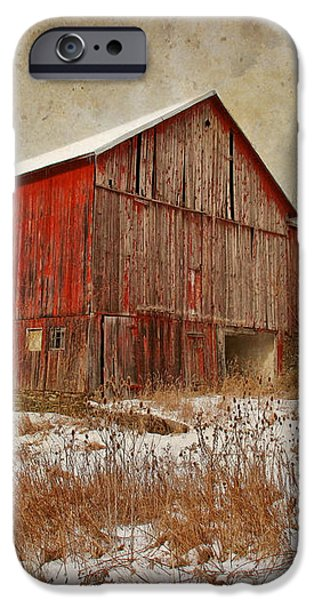 Red Barn White Snow iPhone Case by Larry Marshall
