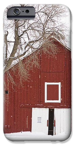 Red Barn Winter Country Landscape iPhone Case by James BO  Insogna