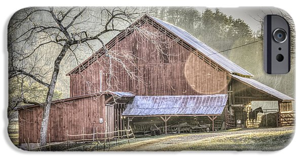 Red Barn In Winter iPhone Cases - Red Barn with a Horse iPhone Case by Griffey