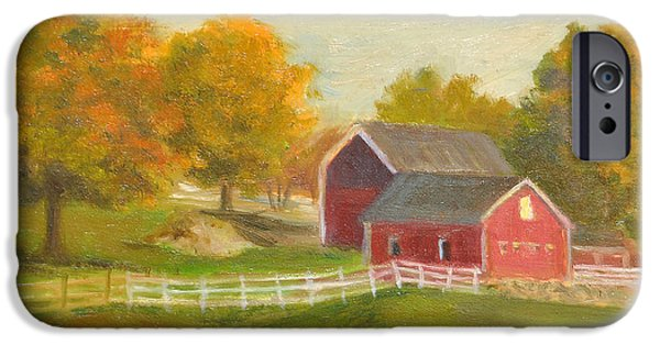 Autumn iPhone Cases - Red Barns and Autumn Leaves iPhone Case by Phyllis Tarlow