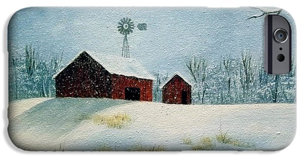 Snow iPhone Cases - Red Barns iPhone Case by Lettie Hoots