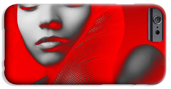 Model Digital Art iPhone Cases - Red Beauty  iPhone Case by Naxart Studio