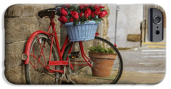 Arkansas iPhone Cases - Red Bike and Flowers iPhone Case by Tony  Colvin