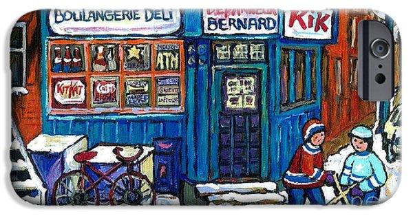 Hockey Paintings iPhone Cases - Red Bike At Boulangerie Bernard Street Hockey Paintings Best Canadian Winter Scene Art iPhone Case by Carole Spandau