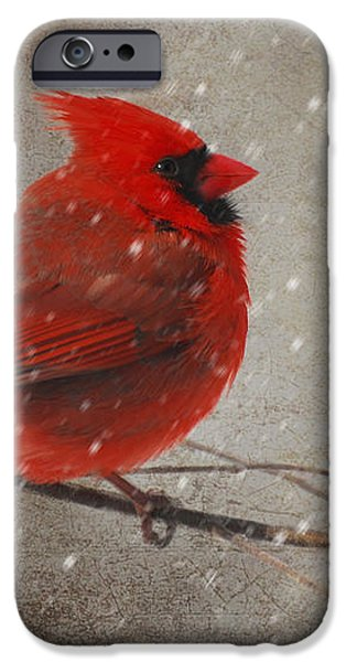 Red Bird In Snow Christmas Card iPhone Case by Lois Bryan