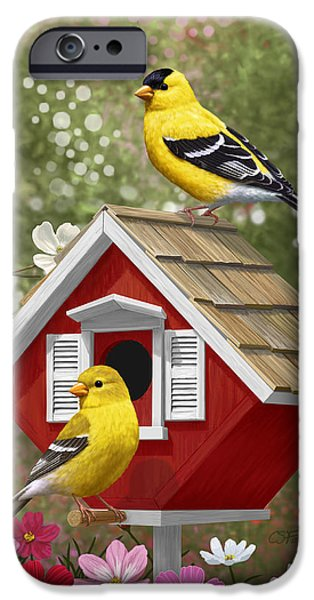 Birdhouse iPhone Cases - Red Birdhouse and Goldfinches iPhone Case by Crista Forest