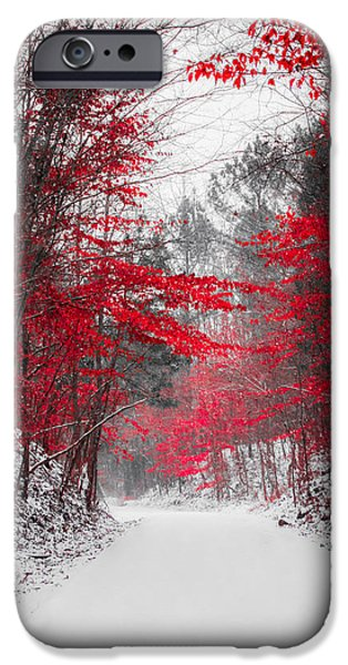 Selective Coloring Art iPhone Cases - Red Blossoms  iPhone Case by Parker Cunningham