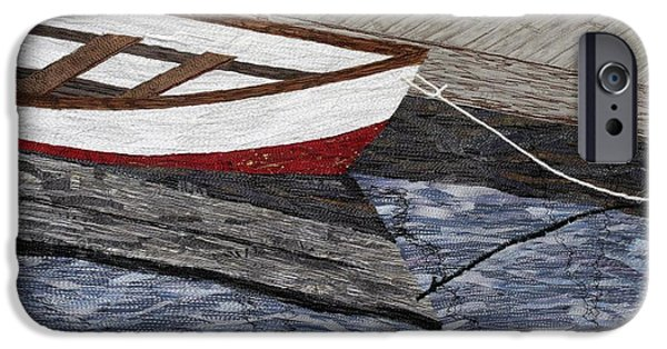 Transportation Tapestries - Textiles iPhone Cases - Red Boat iPhone Case by Loretta Alvarado