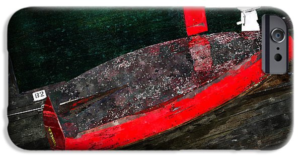 Boston iPhone Cases - Red Boat iPhone Case by Rick Mosher