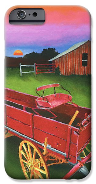 Old Barns Pastels iPhone Cases - Red Buckboard Wagon iPhone Case by Stephen Anderson